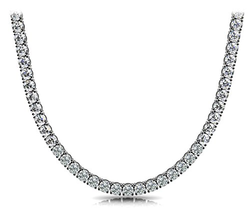 Pori Jewelers Unisex Sterling Silver 4mm Cubic Zirconia Tennis Necklace Available in 16