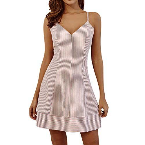 (URIBAKE ♥️ Women's Striped Mini Dress Off-Shoulder Strappy Sleeveless Backless A-Line Party Beach Casual Dress Pink)
