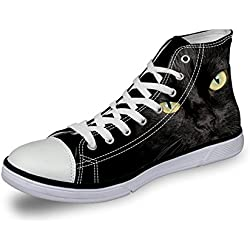 Coloranimal Black Cat Pattern Women Walking Shoes Casual High Top Canavas Lightweight Sneakers US12