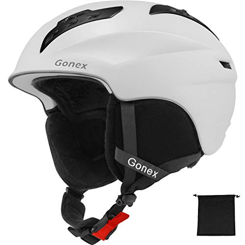 Gonex Ski Helmet - ASTM Certified Safety - Winter Snow Helmet Snowboard Skiing Helmet with Safety Certificate for Men, Women, Youth, Storage Bag (White XL)