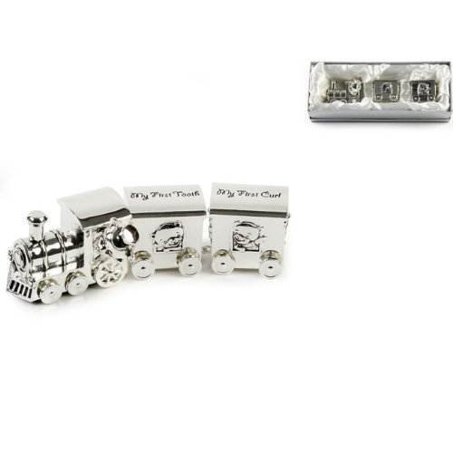 Train Money Box, Tooth & Curl Carriages- Silver Plated Baby Christening Gift (Train Carriage)