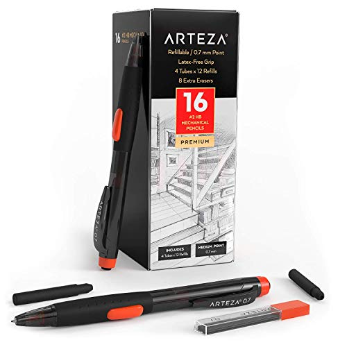 Arteza HB Mechanical Pencil Pack of 16, 0.7 Millimeter Medium Point Lead, 48 Refills and Replaceable Eraser with 8 Extra Erasers, Latex-Free Grip, Office Supplies