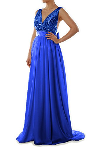 MACloth Women V Neck Sequin Long Prom Dress Wedding Party Formal ...