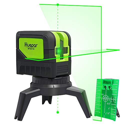 Cross Line Laser Level with 2 Plumb Dots - Huepar 9211G Green Beam Self Leveling 180-Degree Vertical Line and Horizontal Line with Plumb Dots, Multi-Use Self-Leveling Alignment Laser Level - Laser Plumb Bob