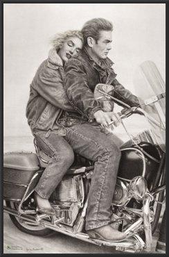 - James Dean & Marilyn Monroe (Motorcycle) Movie 24x36 Wood Framed Poster Art Print