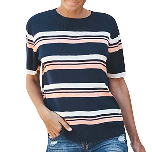 (AMOFIN Fashion Women T-Shirt Short Sleeve Striped O-Neck Loose Tops Blouse)
