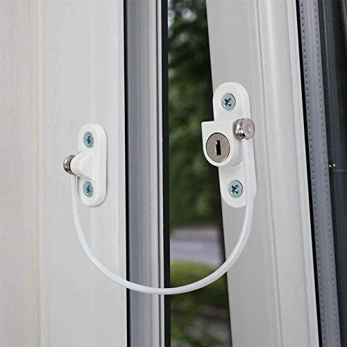 Child /& Baby Safety Extra Security Wire 2 x Cable Restrictor Lock for UPVC Windows with Screws