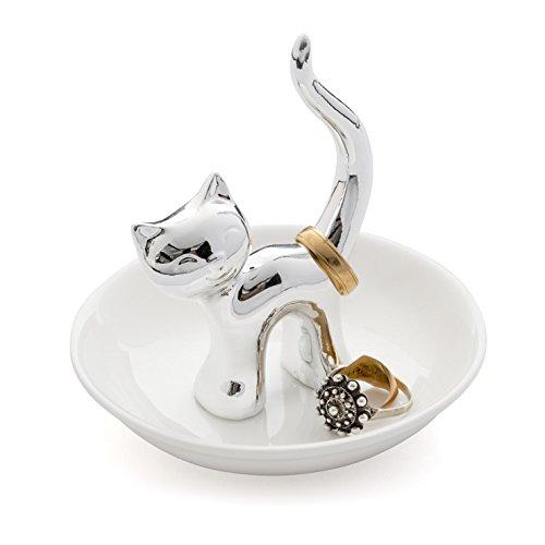 Balvi - Gatto Porta Anelli in Ceramica. Vassoio per Anelli e Gioielli. Realizzato in Ceramica. Forma di Gatto. Balvi Gifts S.L.