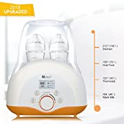 Baby Bottle Warmer, Bottle Sterilizer & Smart Thermostat 4-in-1 with Fast Transit Heat, Real Time Temperature LCD Monitor and Precise Temperature Control