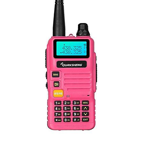 Quansheng ham radios (UV-R50) Dual Band Two Way radios Long Range walkie talkies (Pink)