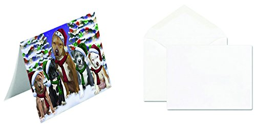 Christmas Happy Holidays Pit Bull Dog Family Portrait Greeting Card GCD030 (10) (Family Portraits Christmas Outdoors)