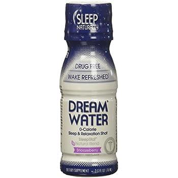 Dream Water Natural Sleep Aid, GABA, MELATONIN, 5-HTP, 2.5oz Shot, Snoozeberry, 24 Count