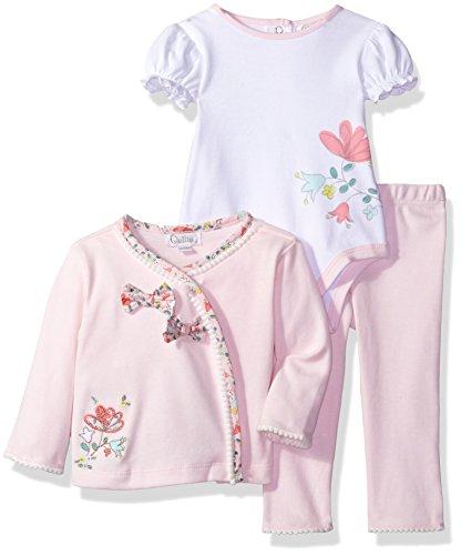 Quiltex Baby Girls' 3 Piece Playwear Set, Light Pink, 6/9