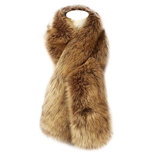 Dikoaina Women's Winter Fake Faux Fur Scarf Wrap Collar Shawl Shrug (Faux Fur Collar Scarf)