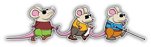 Three Blind Mice Cartoon Art Decor Bumper Sticker 8'' x 2''