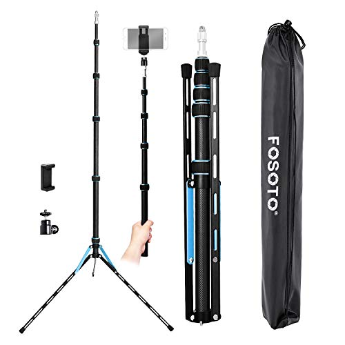 FOSOTO 87inch Photography Tripod Light Stand Carbon Fiber Lightweight Photographic Stand Compact for Photo Studio Equipment Softbox Umbrella Shooting Video Filming Speedlight