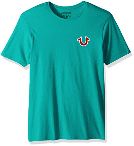 True Religion Men's Buddha Logo Short Sleeve Tee, Cosmic Turquoise, M ()