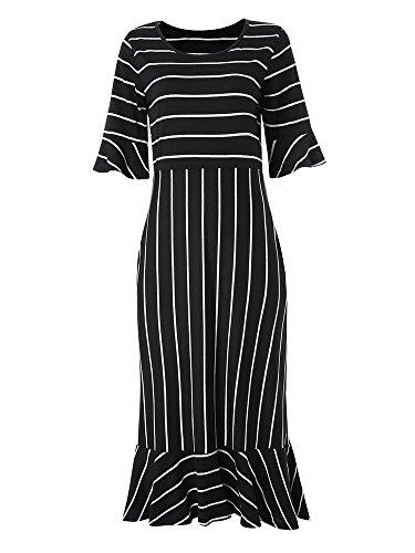 Women's Casual Striped Print Half Sleeve High-Low Hem Ruffle Trimmed Midi Dress With Pockets