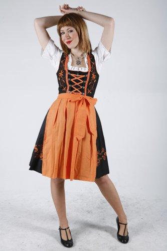 dirndloutlet.com - Vestido - acampanada - Manga corta - opaco - para mujer Black - Schwarz/Orange