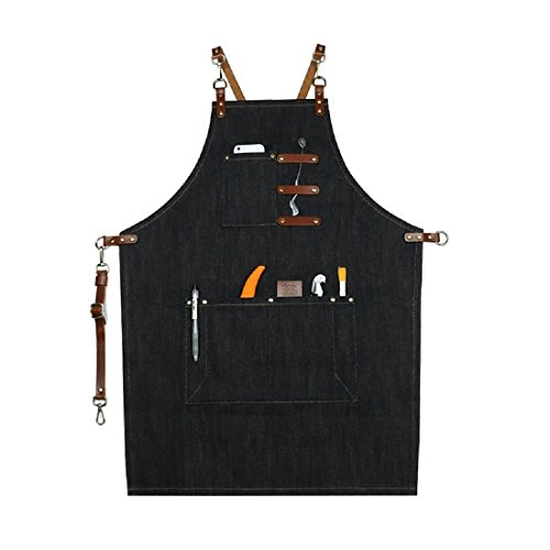 Plus Size Barista Costumes (Home-organizer Tech Multi-Use Detachable Tool Apron Heavy Duty Denim Jean Work Apron Salon Barber Hairdressers Apron BBQ Gril Housewife Apron with Pockets, Adjustable for Men & Women)