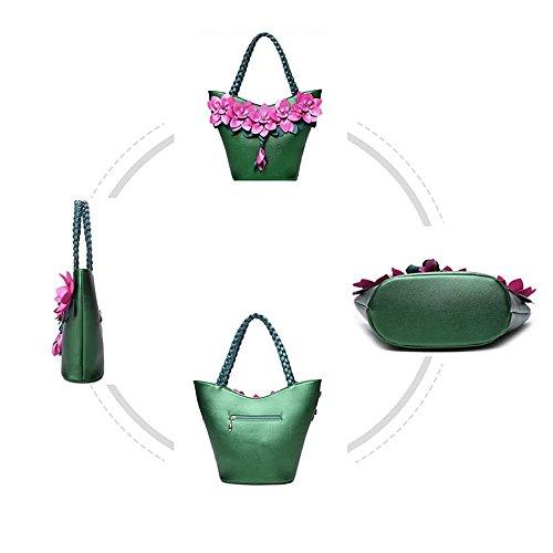Bandoulière Couture Pour à Main Élégant Sac Sac Grande Tisser à Fleur Femme Capacité Mode Automne Black AJLBT Sac 5ZaqwIw