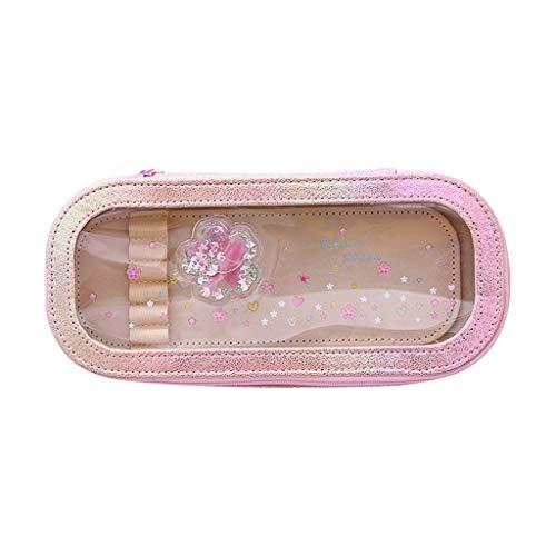 Fan-Ling Cute Cherry Blossom PVC Pencil Case Large Capacity Storage Pencil Case,Desktop Stationery Storage Pencil case,Unisex Men Women Zipper Pencil Case,21x10x4cm (C) (Best Number Plates For Bikes)