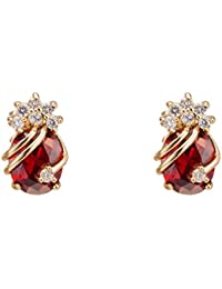 Elegant 18K Gold Plated Cubic Zirconia Multicolor Stud Earrings for Women
