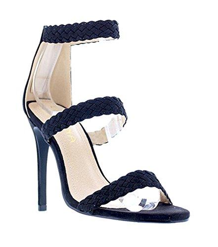 Suede Triple Heels 83 Black Weaved Liliana Golden Faux High Strap Open Toe 7S11dw8q