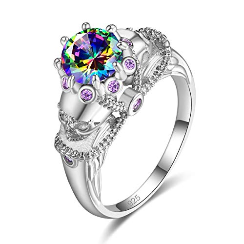 Psiroy 925 Sterling Silver Created Rainbow Topaz Filled Skull Ring for Women Size 6