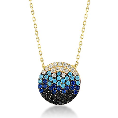 Gelin 14k Real Gold Ocean Wave Sea Beach Cubic Zirconia Chain Necklace for Women - with Gold Certificate and Lovely Jewelry Box, 18 -
