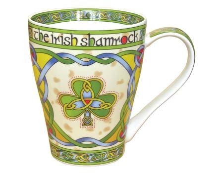 (Clara Ireland Bone China Mug with Irish Weave Shamrock Design)