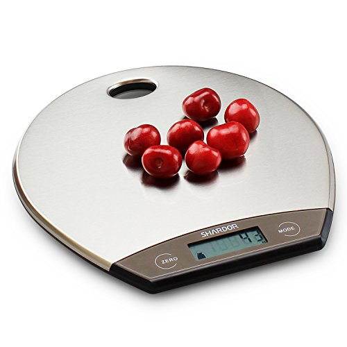 Food Scale SHARDOR Kitchen Scale 9mm Ultra Thin With a Hanger, Digital Food Scale/Food Scales Digital Weight Grams and OZ, Stainless Steel/11lb 5kg/Silver (6 Batteries Included)