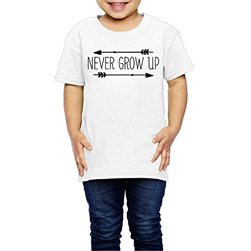 SSEE Kids Boy's & Girl's Never Grow Up Cool T Shirts Size 2 Toddler White ()