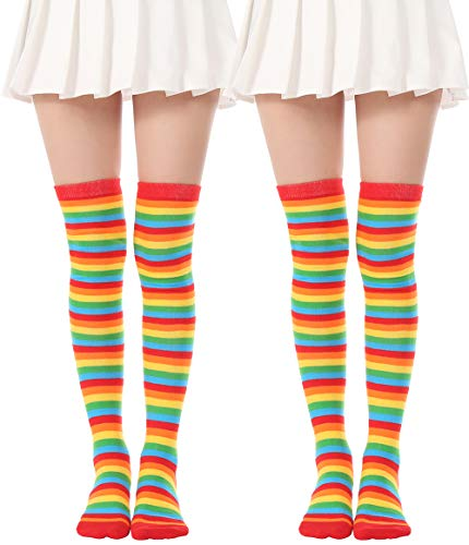 (Over Knee Long Sock Striped Mardi Gras Socks St. Patrick's Day Stockings (2 Pairs Rainbow socks) )