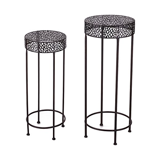 Homebeez Scroll Classic Plant Stand Decorative Metal Garden Patio Flower Pot Rack Display Shelf Holds 2-Flower Pot with Modern Design (2 sets) (100 Decorative Plant Stands)