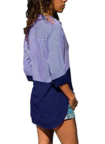 Bleu V Longue S Tunique Chemise Grande Femme 5XL Top Classique Blouse Col Taille Elegant Yidarton Chic Manche pYwaYB