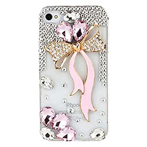 Bowknot Ribbon Zircon Covered Case for iPhone 4/4S --- COLOR:Pink