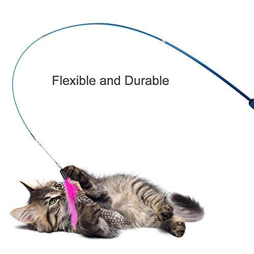 Becory Feather Teaser Cat Toy, Retractable Cat Feather Toy Wand with 5 Assorted Teaser with Bell Refills, Interactive Catcher Teaser for Kitten Or Cat Having Fun Exerciser Playing 6