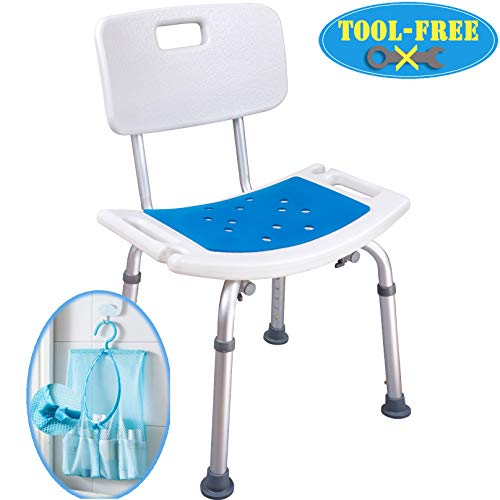 Medokare Shower Chair with Back - Padded Shower Seat for Seniors with Handles and Tote Bag, Shower Bench Bath Chair for Elderly, Handicap Tub Shower Seats for Adults (White Chair)