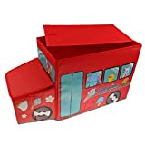 MonkeyJack Storage Box Container Seat Household Supplies for Kids Dog Toy - Red, 57x26x32cm