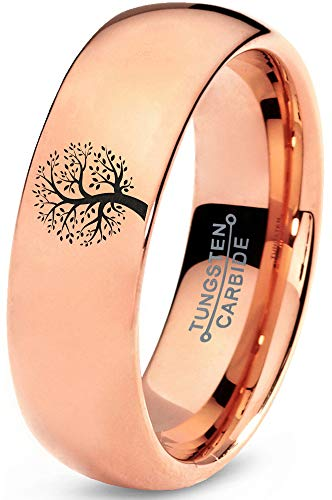 Zealot Jewelry Tungsten Blossom Nature Tree Band Ring 7mm Men Women Comfort Fit 18k Rose Gold Dome Polished Size 4