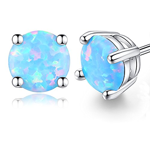 Desimtion Light Blue Opal Stud Earrings for Women 6mm Hypoallergenic Earrings Nickel Free (2-Light (Opal Vintage Earrings)