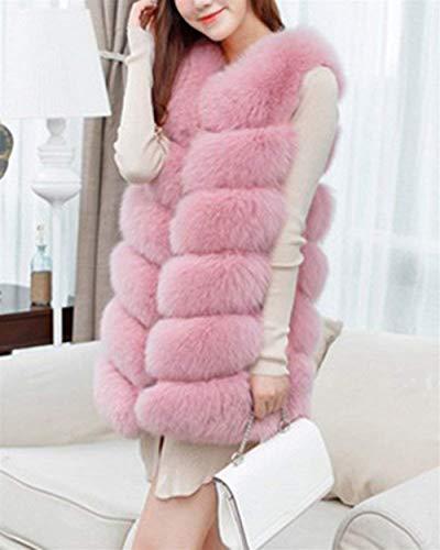 Espesar Talla Piel Chalecos Chaquetas Casuales Mangas Pink Moda Abrigos Mujer Elegantes Sólidos Sin Grande Invierno Chaleco Colores Chaqueta Caliente Sintética De Mujeres pwtn4Prwgq