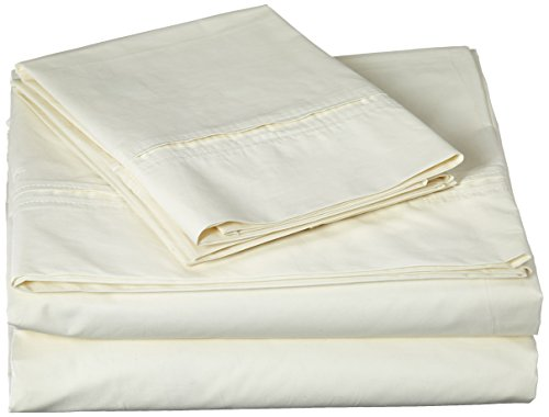 Egyptian Cotton Percale 350 Thread Count Deep Pocket Sheet Set Queen Light Ivory ()