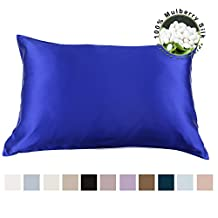 LILYSILK 100 Pure Mulberry Anti Wrinkle Silk Pillowcase for Hair with Cotton Underside Charmeuse Hypoallergenic Standard/Queen 20x30 Inch Blue 1pc 19 Momme Gift Box