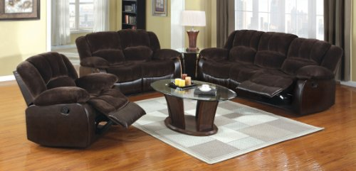 Furniture of America Calmen 3-Piece Champion Leatherette Recliners Set, Dark Brown Finish