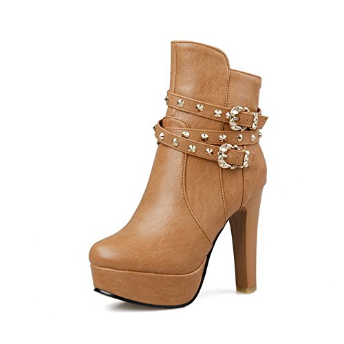 Halloween Stores Orlando Fl (WeiPoot Women's Blend Materials Solid Closed-Toe Boots with Platform and Metal Buckles, Yellow,)