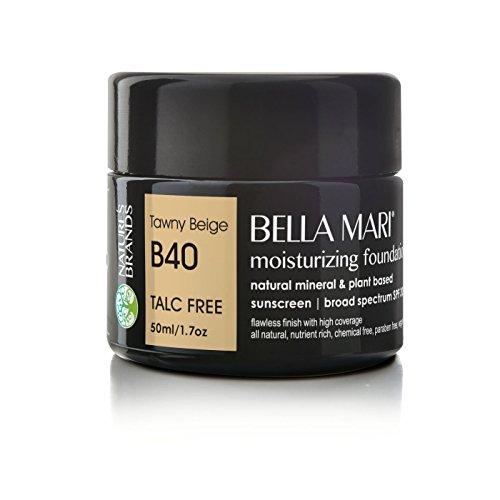 Bella Mari Natural Moisturizing Foundation, Tawny Beige B40 1.7floz Glass