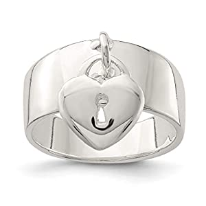 925 Sterling Silver Dangle Lock Band Ring S/love Fine Jewelry For Women Gift Set