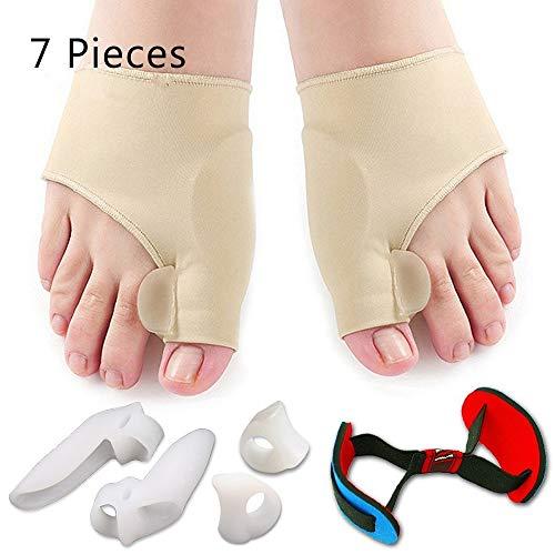 Thumb Eversion Correction Set Toe Separator Silicone Orthotics Set - Auxiliary Treatment of Hallux Valgus Pain, Tailoring Bunion Cyst, Big Toe Straightener, Toe Separator Pad (7 Pieces)